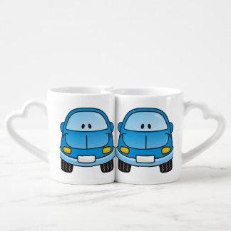Blue cartoon car coffee mug set