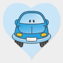 Blue cartoon car heart sticker