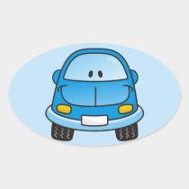 Blue cartoon car oval sticker