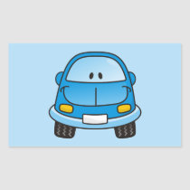 Blue cartoon car rectangular sticker