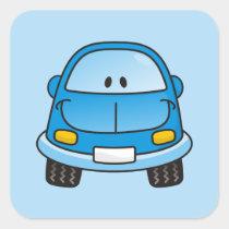 Blue cartoon car square sticker