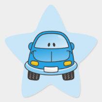 Blue cartoon car star sticker