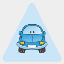 Blue cartoon car triangle sticker