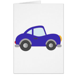 Blue Cartoon Coupe Car Greeting Card