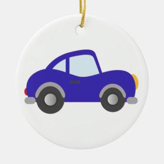 Blue Cartoon Coupe Car Ceramic Ornament