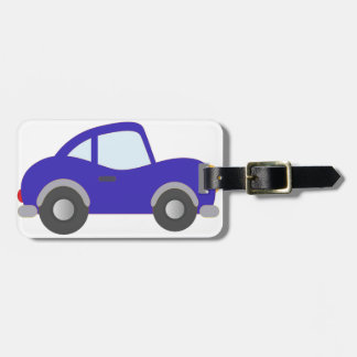 Blue Cartoon Coupe Car Luggage Tag