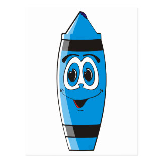 blue cartoon crayon postcard - Cartoon Pictures Of Crayons