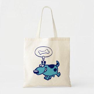 Blue Cartoon Dog thinking of bone Bag