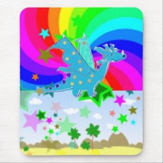 Blue Cartoon Dragon Pixelart Mouse Pad