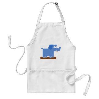 Blue Cartoon Elephant Made from Squares Aprons