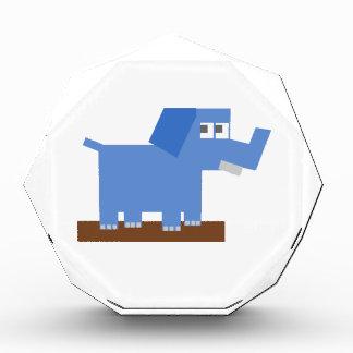Blue Cartoon Elephant Made from Squares Acrylic Award