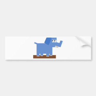 Blue Cartoon Elephant Made from Squares Bumper Sticker