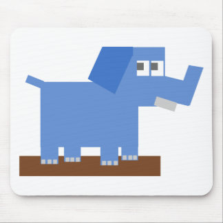 Blue Cartoon Elephant Made from Squares Mouse Pads
