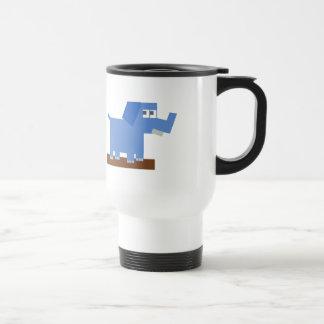 Blue Cartoon Elephant Made from Squares Mugs