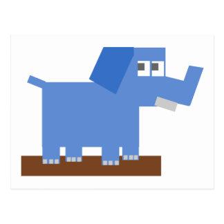 Blue Cartoon Elephant Made from Squares Postcard