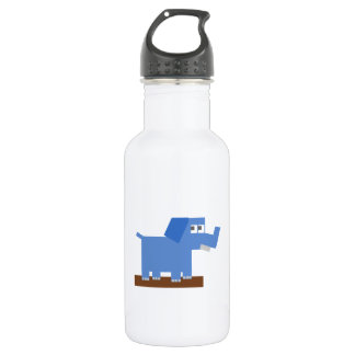 Blue Cartoon Elephant Made from Squares Stainless Steel Water Bottle