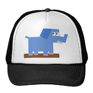 Blue Cartoon Elephant Made from Squares Trucker Hat