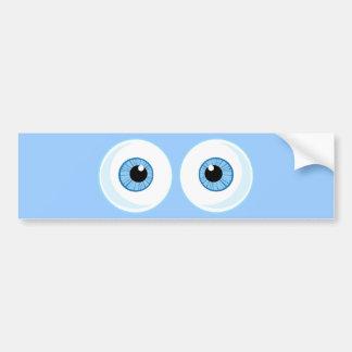 BLUE CARTOON EYES EYEBALLS FUNNY GRAPHICS BUMPER STICKER