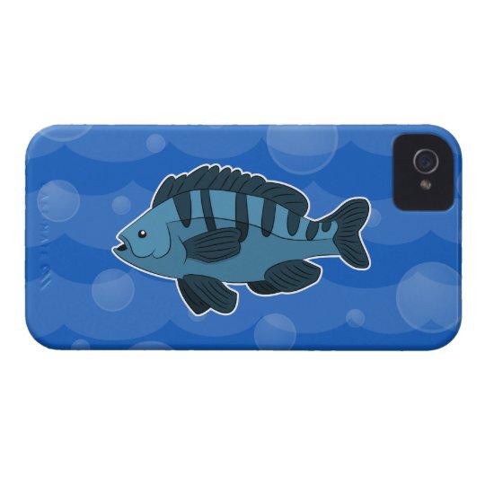 Blue Cartoon Fish iPhone 4/4s Case