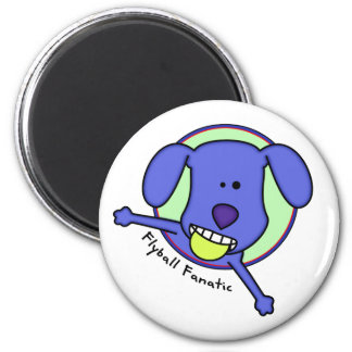 Blue Cartoon Flyball Fanatic 2 Inch Round Magnet