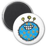 Blue Cartoon Germ 2 Inch Round Magnet