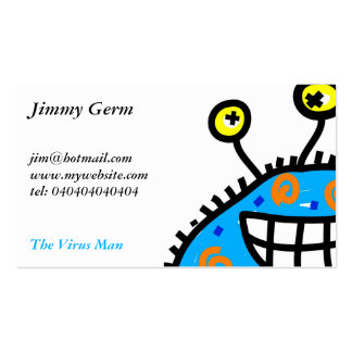 Blue Cartoon Germ Double-Sided Standard Business Cards (Pack Of 100)