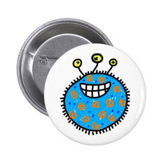 Blue Cartoon Germ Pinback Button