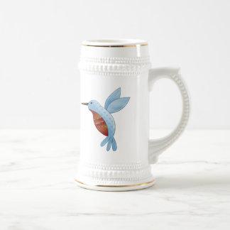 Blue Cartoon Hummingbird Cute Art Beer Stein