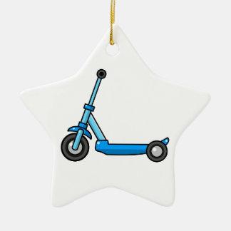 Blue Cartoon Kick/Push Scooter Ceramic Ornament