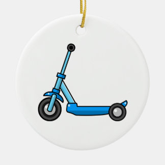 Blue Cartoon Kick/Push Scooter Double-Sided Ceramic Round Christmas Ornament