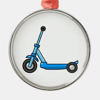 Blue Cartoon Kick/Push Scooter Metal Ornament
