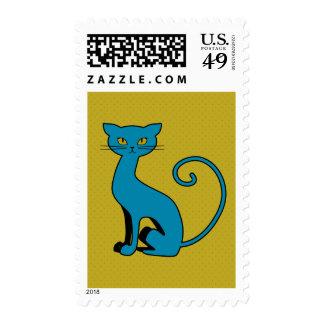 Blue Cartoon Kitty - Postage