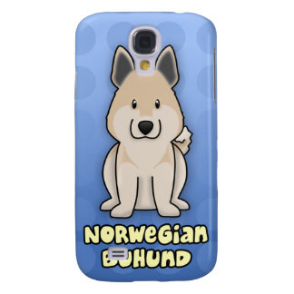 Blue Cartoon Norwegian Buhund Galaxy S4 Cases