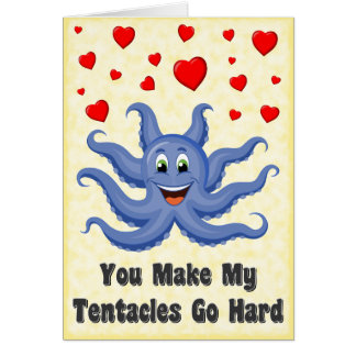 Blue Cartoon Octopus Hearts Funny Valentines Day Card