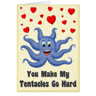 Blue Cartoon Octopus Hearts Funny Valentines Day