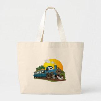 Blue Cartoon Passenger Steam Engine Jumbo Tote Bag