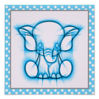 Blue Cartoon Pencil Drawing Baby Elephant Poster