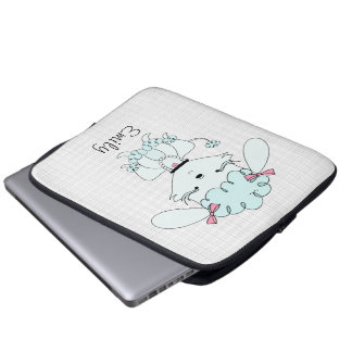 Blue Cartoon Poodle Electronics Bag Laptop Sleeves