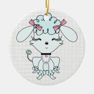 Blue Cartoon Poodle Personalized Ornament