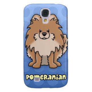 Blue Cartoon Red Pomeranian Galaxy S4 Cases