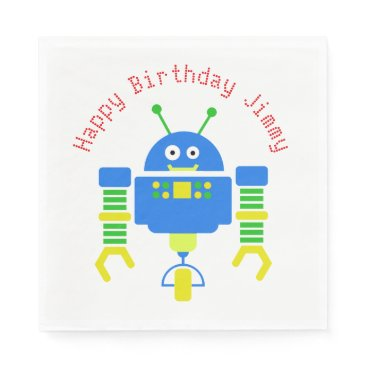 Beach Themed Blue Cartoon Robot Birthday Party Paper Napkins