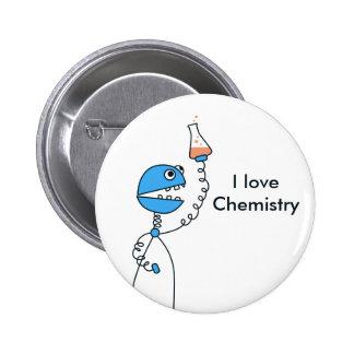 Blue Cartoon Robot Chemistry Geek Button