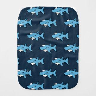 Blue Cartoon Shark Pattern Baby Burp Cloth