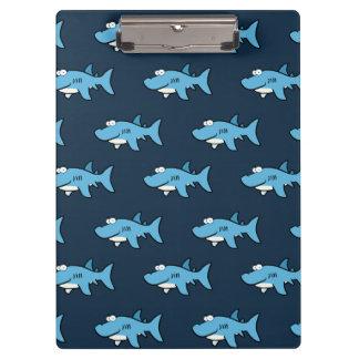 Blue Cartoon Shark Pattern Clipboard