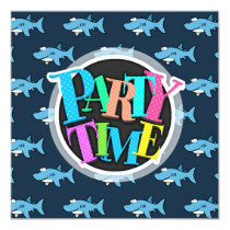 Blue Cartoon Shark Pattern Invitation