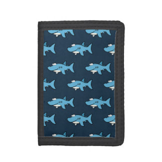 Blue Cartoon Shark Pattern Trifold Wallet