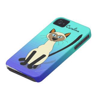 Blue Cartoon Siamese Cat Custom Name Skin Cover Case-Mate iPhone 4 Cases