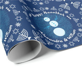 Blue Cartoon Snowman Holiday Happy Hanukkah Wrapping Paper