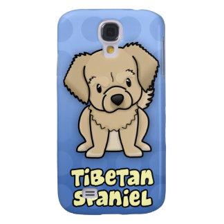 Blue Cartoon Tibetan Spaniel Samsung Galaxy S4 Cases