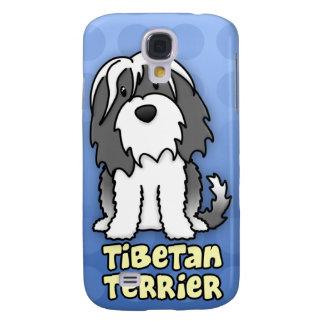 Blue Cartoon Tibetan Terrier Galaxy S4 Cases
